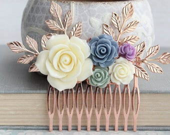 Rose Gold Hair Comb, Leaf Branches, Slate Blue Rose, Ivory Cream Floral, Sage Green Wedding, Bridal Hair Piece, Bridesmaids Gift, Blush Pink