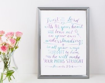 Christian Wall Art ~ Trust in the Lord ~ Proverbs 3:5-6 ~ Hand-Lettered Design ~ Purple Blue Swirl Watercolor