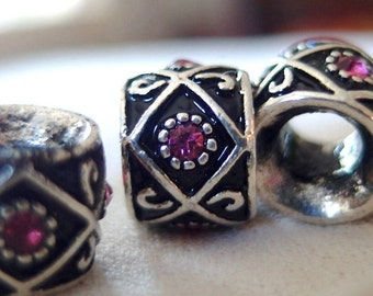 10pc - Silver with Black Enamel and Pink Rhinestone large hole beads, 10mm wide x 10mm, hole diameter 5mm, package of 10
