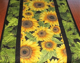 Sunflower Table Runner,  quilted, handmade, wall hanging, door hanger, leaves,  fabric from Hoffman