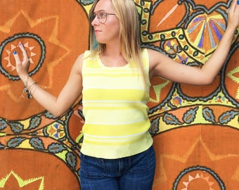FREE SHIPPING!: Vintage 1970s Ribbed Yellow Striped Tank Top