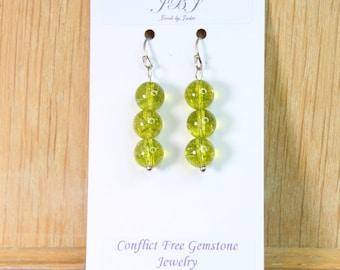 Lime Green Quartz Earrings with Sterling Silver hooks E2147