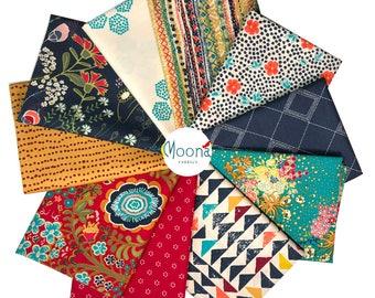 INDIE FOLK Fat Quarter Bundle, Art Gallery Fabrics, Pat Bravo, Boho Fabric Bundle, ROUGE Palette, Cotton Quilt Fabric, Quilting Fabric