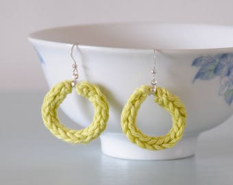Pistachio Knitted Earrings - Light Green Silver Plated Cotton Hoop Earrings Colourful Jewellery Gift for Her by Emma Dickie Design