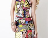 "Multicolor Vibrant Neon Colorful Pop Art Comic Book ""Boom"" Dress"
