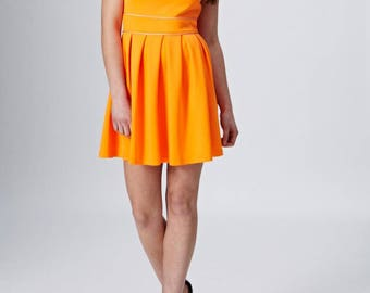 Highlighter Neon Orange Tennis Skater Skirt Style Dress With Cut Out Back