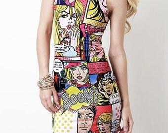 """Multicolor Vibrant Neon Colorful Pop Art Comic Book """"Boom"""" Dress"""