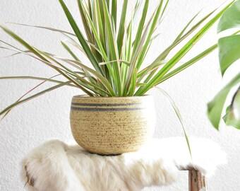 beige speckled stoneware planter pot / orb round vase