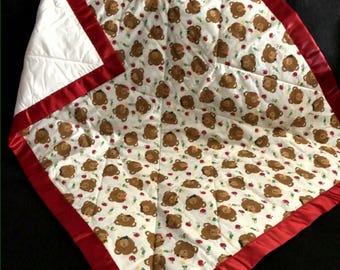 Christmas Teddy Bear Baby Quilt Handmade Baby Quilt Crib Nursery Quilt