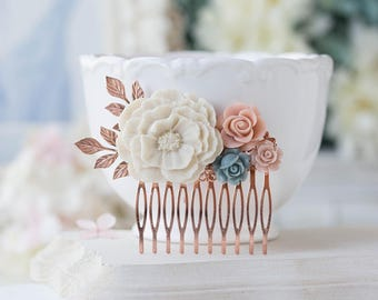 Rose Gold Hair Comb White Blush Pink and Dusty Blue Hair Piece White Peony Bridesmaid Gift Rose Gold Branch Floral Collage Chartreuse Poppy