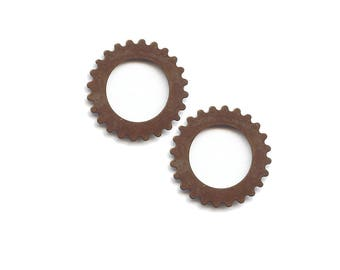 Vintage Large Open Gear , 25mm,  Qty 2