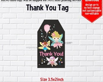 Instant Download, Fairy Birthday, #979  girl fairy gift tag, Thank you TAG, 3.5x2inch printable, non-editable NOT CUSTOMIZABLE