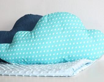 Decorative Cloud Pillow, Soft Pillow, Nursery Decoration, White Rain Drop Blue