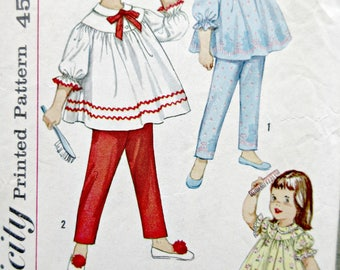 Vintage Simplicity 4016 Sewing Pattern, Toddler PJs, Toddler Pajama Pattern, 1960s Sewing Pattern, Shortie Pajamas, Chest 22, Little Girls