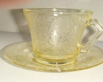 Hazel Atlas Antique Florentine #2 Cup And Saucer Yellow Poppy Pattern 1932-35