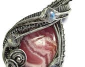 Natural Argentinian Rhodochrosite Wire-Wrapped Pendant in Antiqued Sterling Silver with Rainbow Moonstone