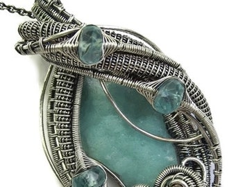 Wire-Wrapped Hemimorphite Druzy Pendant in Antiqued Sterling Silver with Green Apatite