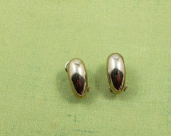 Vintage Gold Pierced Earrings with Clip Simple Modern Design