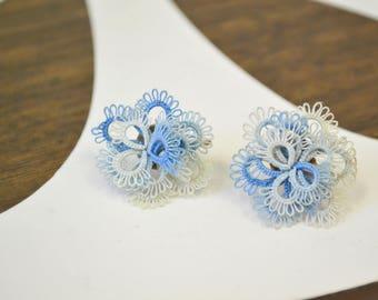 1940s Blue Tatted Handmade Screw Back Earrings