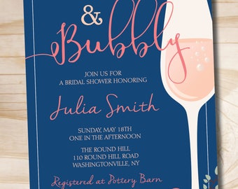 Brunch and Bubbly Bridal Shower Invitation, Floral Bridal Shower Invitation - Printable digital file or printed invitations