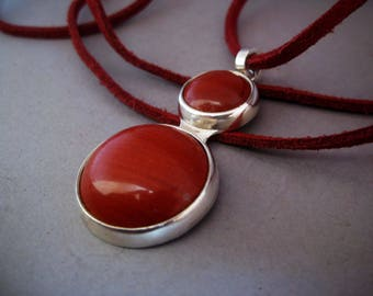 Double red jasper pendant