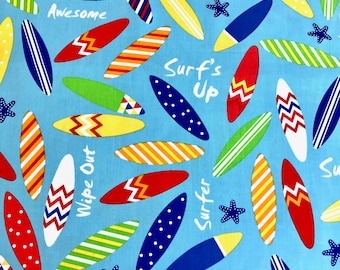 Surf boards fabric, kids Fun Summer fabric 100% cotton Premium Quality designer Fabric for general sewing projects