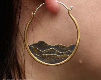 Brass and Sterling Silver Mountain Range Landscape Forest Nature Inspired Handmade Hoop Earrings Mountainscape Unique Earrings Ritual Remain