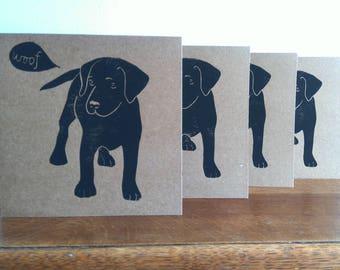 Linocut Cards Set of 4, Pup, Labrador, Original Hand Printed Cards, Blank Greeting Cards, Brown Kraft Cards, Free Postage in UK,