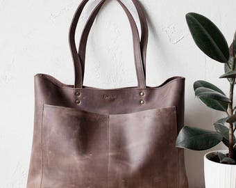 Back To School SALE Large Rustic Brown Distressed Leather Tote bag No. LPB-1031