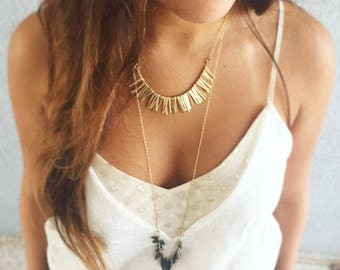 Gold necklace, Boho necklace, Bib necklace, Fringe necklace, Statement necklace, Gift for her, Layered necklace, Trendy necklace, Festival
