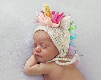 IN STOCK Newborn Unicorn hat - Baby Unicorn hat - Rainbow Baby - Photo props