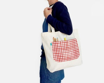 Market bag, Edc tote bag, Eco tote bags, Large tote bags, Organic cotton tote, Shopper bags, Reusable bags, Eco bags, Handprinted by Olula