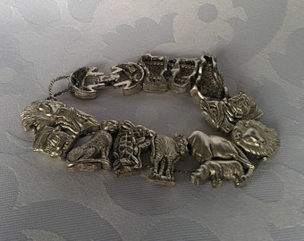 Animal Slide Bracelet, Zoo Animal Slide Bracelet, Silver Tone Animal Bracelet