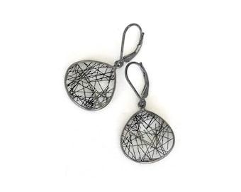 Silver Tourmalinated Quartz Earrings