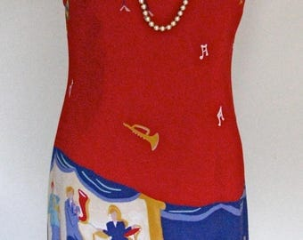 Vintage CDC Petites Sz 6 JAZZ PRINT Summer Sleeveless Dress