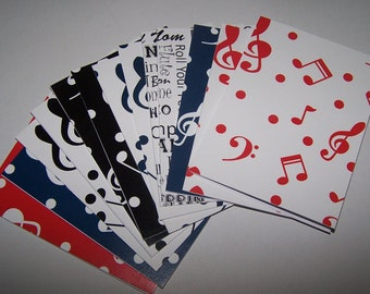 Piano notecards. Music note invitations. Band note cards. Music teacher cards. Thank you cards. Music note cards. Orchestra notecards.
