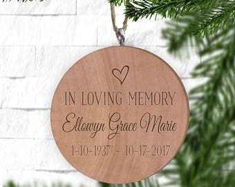 In Loving Memory Remembrance Ornament, Personalized Ornament, Engraved Wooden Gift Tag, Engraved Wooden Christmas Ornament, Wood Ornament