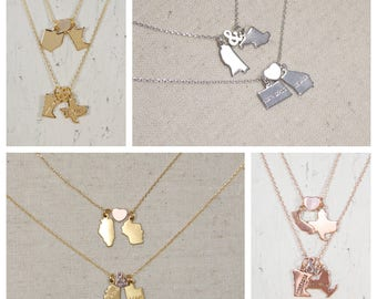 Long Distance Lovers | Double State Necklace | Best Friends | Going Away Present | College | Graduation | State Love |  State to State