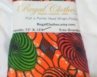 Orange Swirls Ankara Tribal Print Head Wrap Gift Idea Mom Women Turban Fashion  Holiday Fashion Scarf Mothers Day Gift For Mom