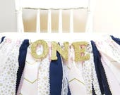 Pink, Navy & Gold Twinkle Twinkle Little Star First Birthday - Girl's Birthday Party - Rag Banner - Photography Prop - First Birthday