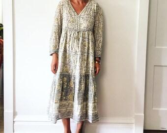 Vintage India Cotton Gauze Midi Dress , Block Pint India Dress