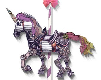 printable steampunk unicorn articulated paper doll instant download craft project birthday card or decoration scrapbook project