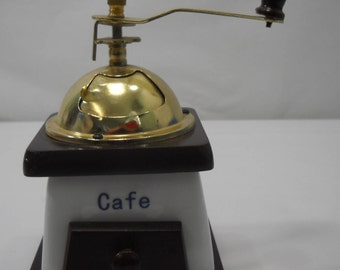 Vintage Porcelain Coffee Bean Grinder Wood Base Blue Floral Coffee Mill FREE SHIPPING