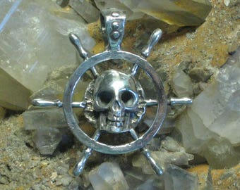 Sterling Silver Ships Wheel with Skull.Pirate Jewelry.Sailors Jewelry.Nautical Jewelry.Diver Jewelry.Key West Jewelry.Nautical Enthusiast