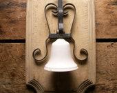 Vintage Porcelain Dinner Bell on Wrought Iron Hanger