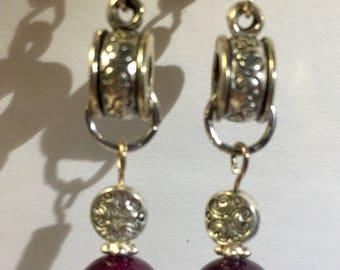 Burgundy and Silver Dangle Earrings
