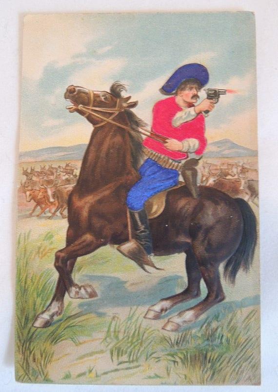 Vintage Early 1900s Postcard.. Embossed Mexican Cowboy On Horseback Shooting Gun