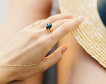 Black Onyx Ring Gold, Black Stone Ring, Gift for Her, Minimalist Ring, Solitaire Ring, Stacking Ring, Tear Drop Ring, Prong Set Ring, Dainty