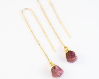 Tourmaline October Birthstone Earrings, Genuine Gemstone Threader Earrings, 14k Gold Filled, Boho, Unique Birthstone Gift, Gift for Friend