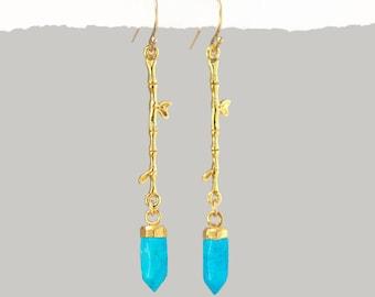 Turquoise Earrings Dangle, Branch Earrings, Nature Earrings, Twig Earrings, Gemstone Point, Jewelry That Inspires, Outdoors Gift, Boho Gifts
